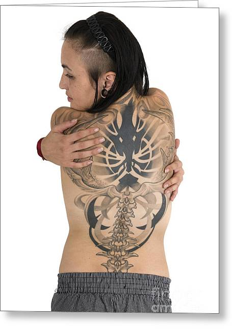 Tatoo Greeting Cards - Woman With Large Tattoo On Her Back Greeting Card by Ilan Rosen