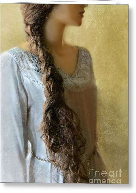 Braided Hair Greeting Cards - Woman with Long Braid Greeting Card by Jill Battaglia