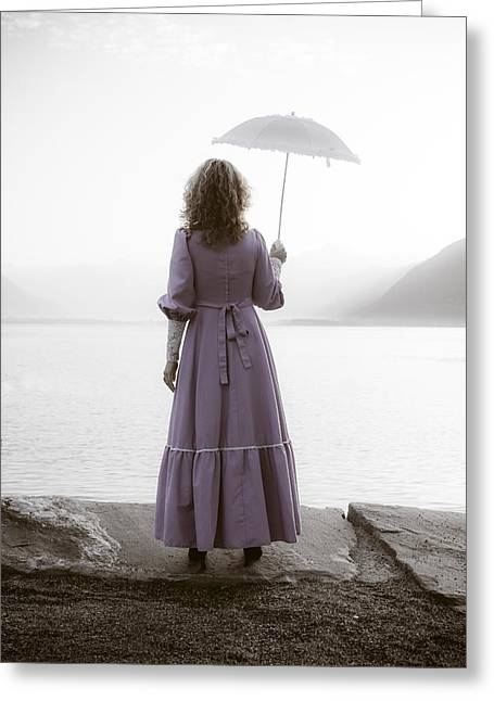 Anonymous Greeting Cards - Woman With Parasol Greeting Card by Joana Kruse