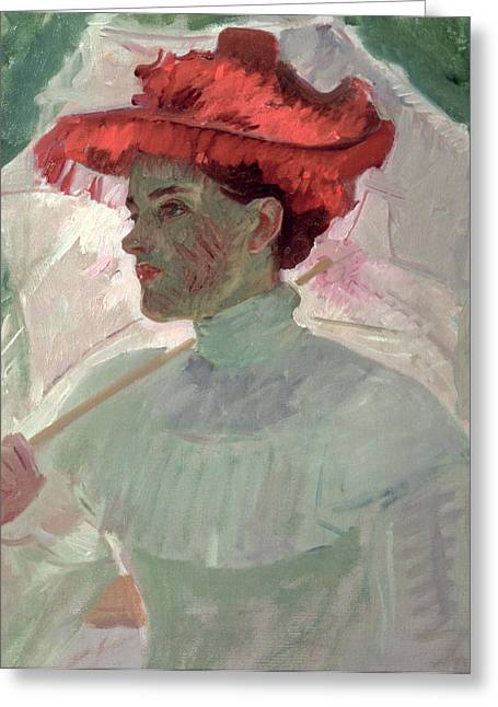 Summer Dresses Greeting Cards - Woman with Red Hat and Parasol Greeting Card by Frank Duveneck