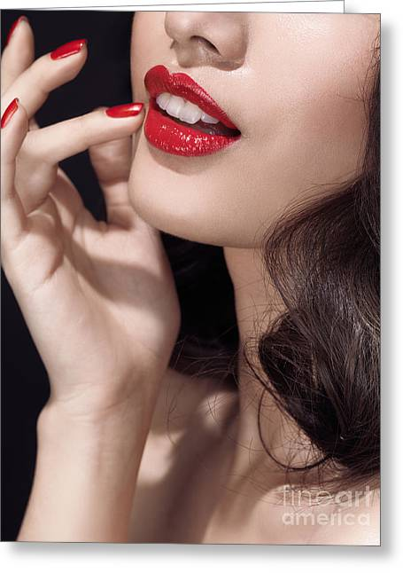 Chin Up Photographs Greeting Cards - Woman with red lipstick closeup of sensual mouth Greeting Card by Oleksiy Maksymenko