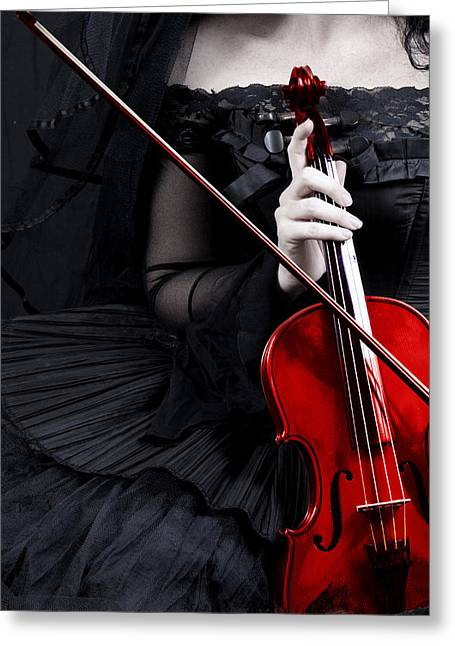 Evening Dress Greeting Cards - Woman With Red Violin Greeting Card by Ethiriel  Photography