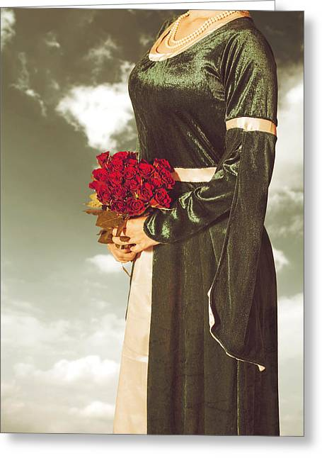 Beaded Dress Greeting Cards - Woman With Roses Greeting Card by Joana Kruse