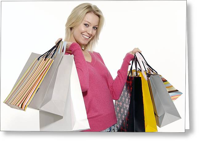 Shopping Bag Greeting Cards - Woman With Shopping Bags Greeting Card by Johnny Greig
