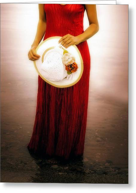 Sun Hat Greeting Cards - Woman With Straw Hat Greeting Card by Joana Kruse