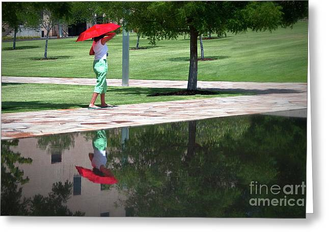 Tamyra Ayles Greeting Cards - Woman with the Red Umbrella Greeting Card by Tamyra Ayles