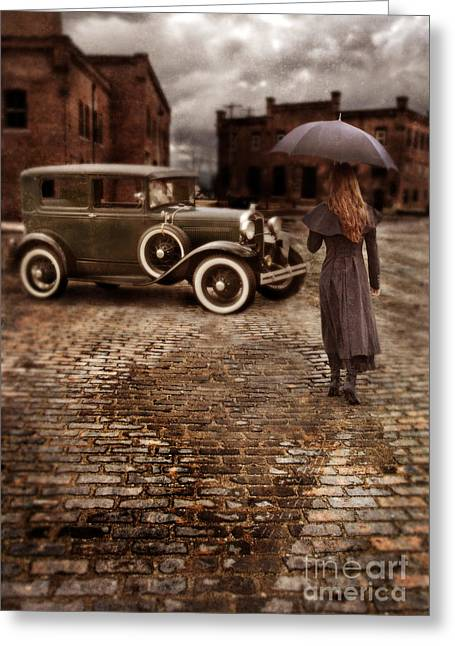 City Buildings Greeting Cards - Woman with Umbrella by Vintage Car Greeting Card by Jill Battaglia