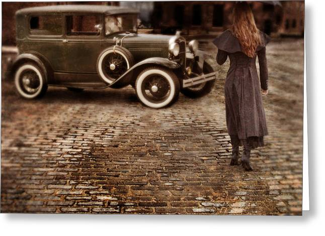 Woman with Umbrella by Vintage Car Greeting Card by Jill Battaglia