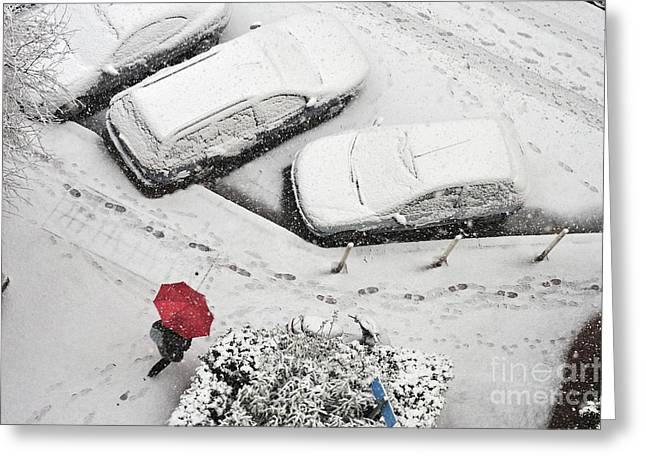 Cars In Winter Greeting Cards - Woman with umbrella under snow Greeting Card by Sami Sarkis