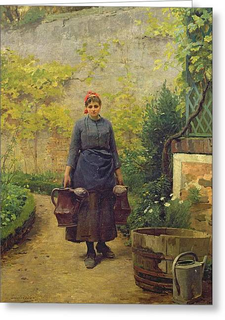 Watering Can Greeting Cards - Woman with Watering Cans Greeting Card by L E Adan