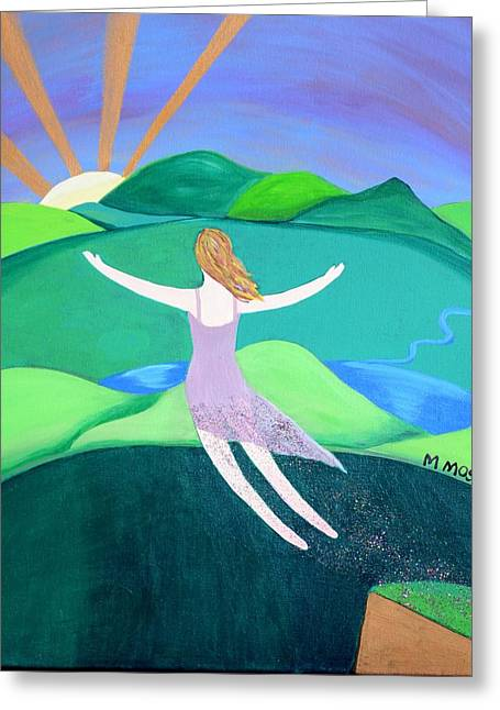 I Write Greeting Cards - Woman with Wings Greeting Card by Monica Moser
