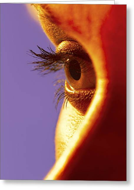 Eyelash Greeting Cards - Womans Eye Greeting Card by Johnny Greig