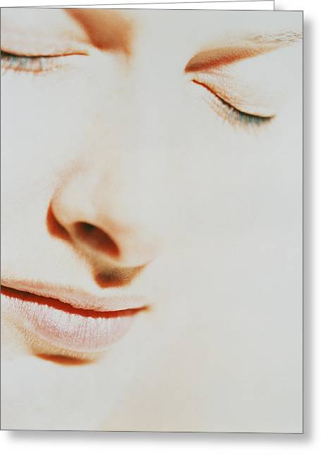 Womanly Greeting Cards - Womans Face With Closed Eyes Greeting Card by Cristina Pedrazzini