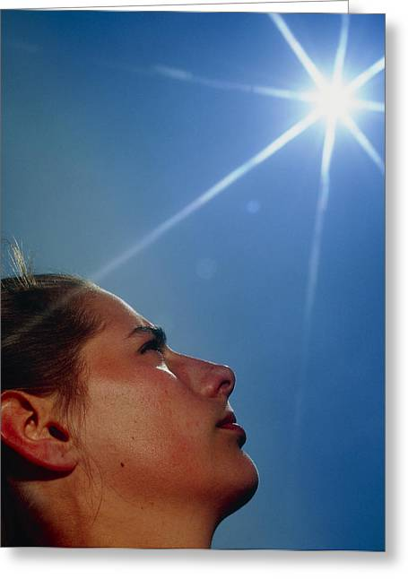 Face In Profile Greeting Cards - Womans Face With sun Greeting Card by David Parker