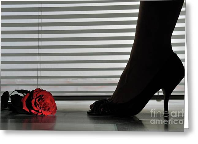 Mid Adult Women Greeting Cards - Womans feet in high heeled shoes by blinds Greeting Card by Sami Sarkis