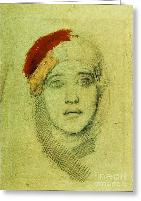 Conversations Drawings Greeting Cards - Womans Head Greeting Card by Pg Reproductions