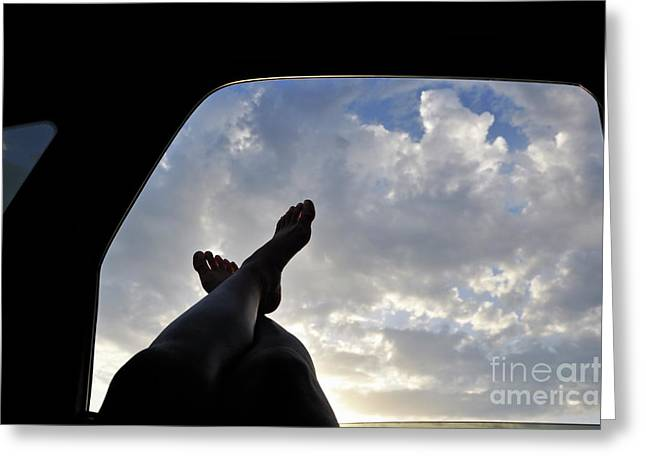 Mid Adult Women Greeting Cards - Womans legs barefeet out of car window Greeting Card by Sami Sarkis