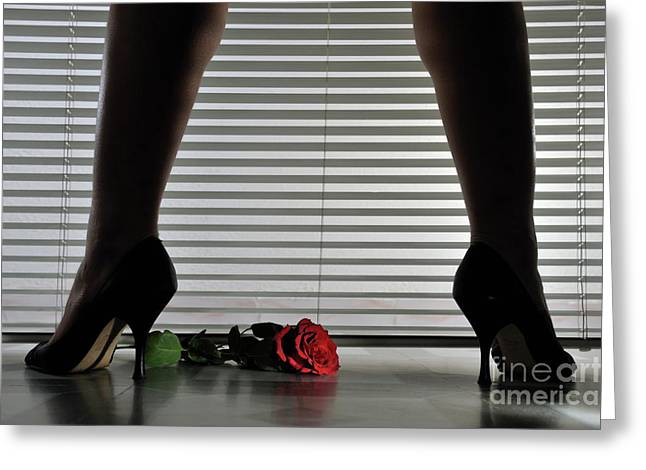 Mid Adult Women Greeting Cards - Womans legs in high heeled shoes by blinds Greeting Card by Sami Sarkis