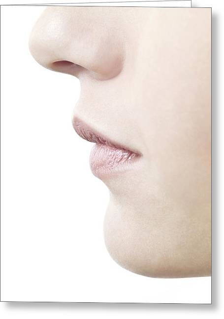 Chin Up Photographs Greeting Cards - Womans Nose And Mouth Greeting Card by