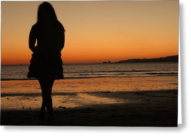 Jenny Senra Pampin Greeting Cards - Womans Shade In The Beach Greeting Card by Jenny Senra Pampin