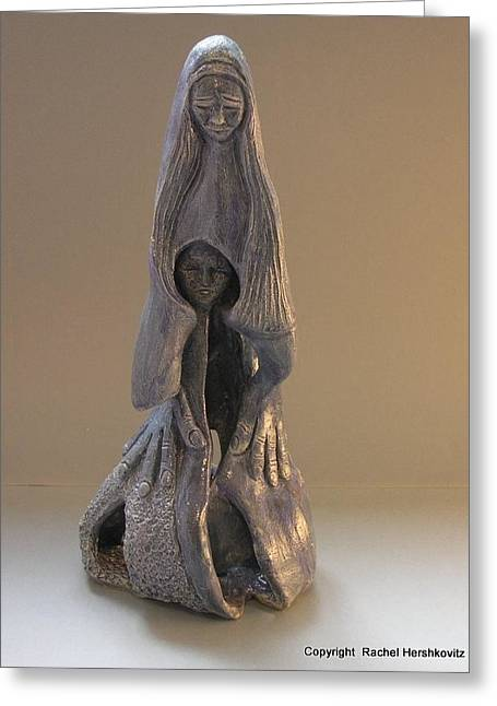 Long Sculptures Greeting Cards - Womb Ceramics Sculpture  in Grey woman and child in her womb large hands long hair   Greeting Card by Rachel Hershkovitz