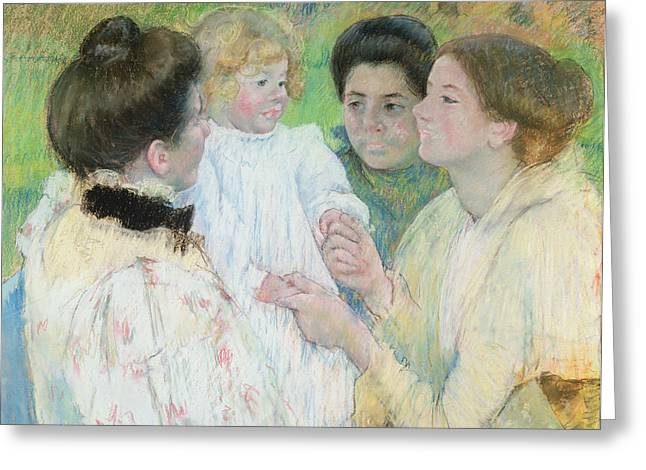 Women Admiring A Child Greeting Card by Mary Stevenson Cassatt