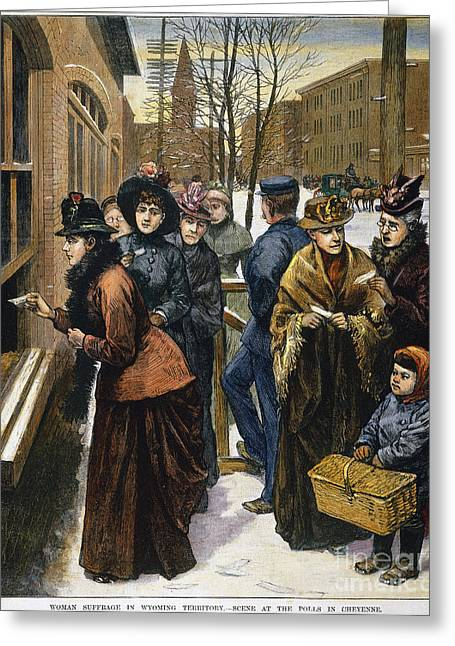 Democratic System Greeting Cards - Women At The Polls, 1888 Greeting Card by Granger