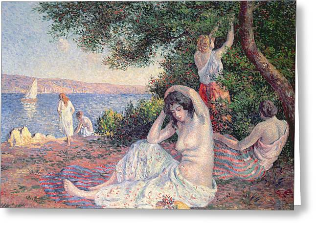 The Bank Greeting Cards - Women Bathing Greeting Card by Maximilien Luce