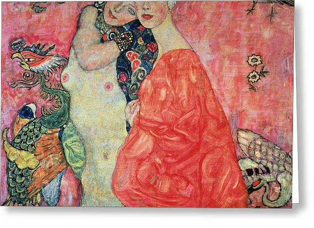 Lesbian Paintings Greeting Cards - Women Friends Greeting Card by Gustav Klimt