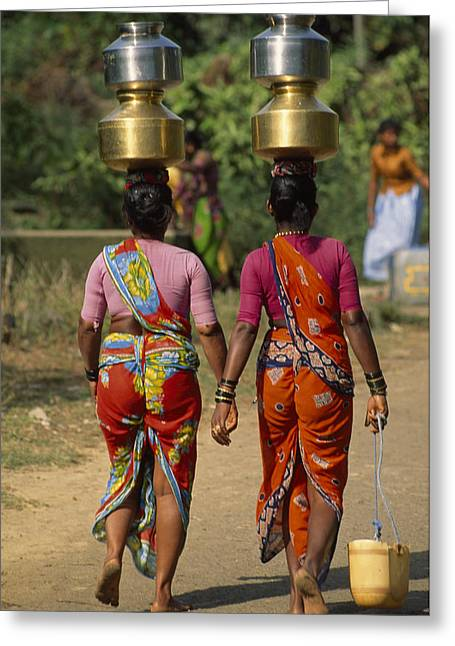 Water Jug Photographs Greeting Cards - Women From Khilabandar Balance Greeting Card by James L. Stanfield