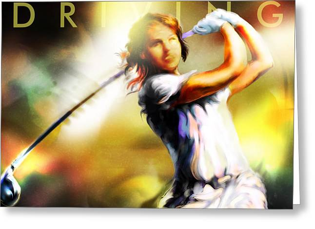 Girl Sports Greeting Cards - Women in Sports - golf Greeting Card by Mike Massengale