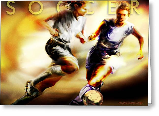 Girl Sports Greeting Cards - Women in Sports - Soccer Greeting Card by Mike Massengale