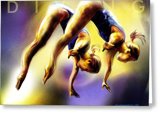 Girl Sports Greeting Cards - Women in Sports - Tandom Diving Greeting Card by Mike Massengale