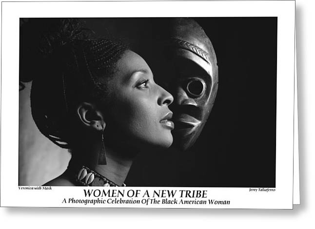 Women Of A New Tribe - Veronica With Mask Greeting Card by Jerry Taliaferro