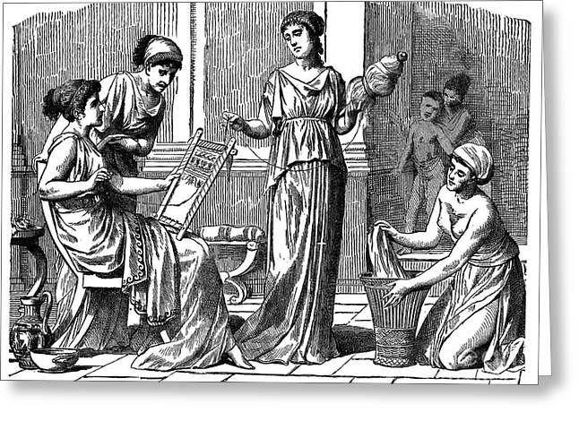 Distaff Greeting Cards - Women Of Ancient Greece Greeting Card by Granger