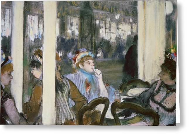 Gathering Pastels Greeting Cards - Women on a Cafe Terrace Greeting Card by Edgar Degas