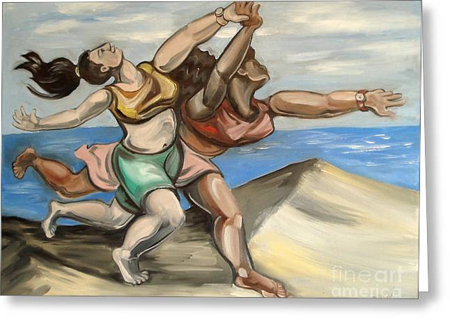 Pablo Picasso Paintings Greeting Cards - Women Running On Beach Greeting Card by Ellen Marcus