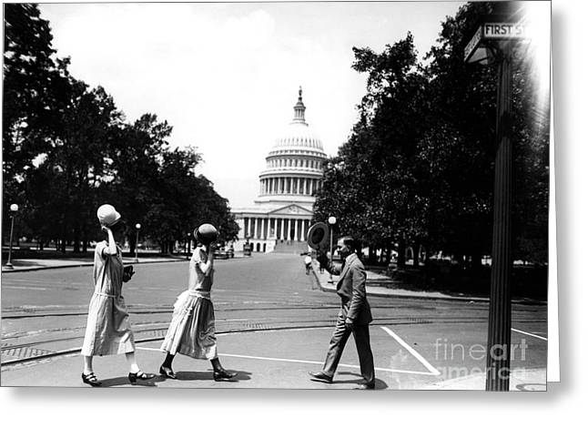 Womans Rights Movement Greeting Cards - Women Tip Their Hats To A Male Colleague Greeting Card by Photo Researchers