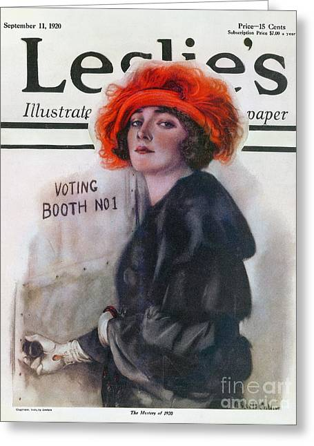 Women Suffrage Greeting Cards - Women Voting, 1920 Greeting Card by Granger