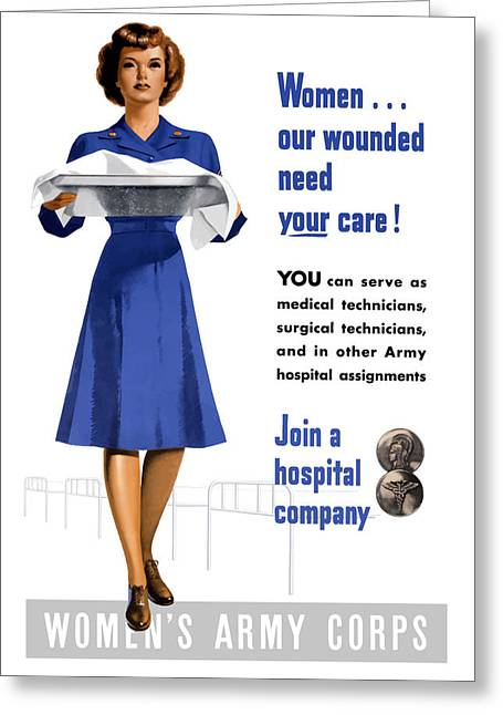 Nurses Greeting Cards - Womens Army Corps Greeting Card by War Is Hell Store
