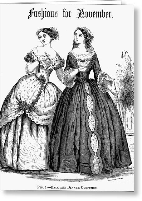 Ball Gown Greeting Cards - Womens Fashion, 1851 Greeting Card by Granger