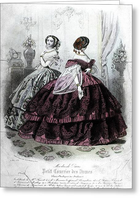 Corset Dress Greeting Cards - Womens Fashion, 1858 Greeting Card by Granger