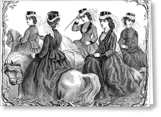 Bowtie Greeting Cards - Womens Fashion, 1870 Greeting Card by Granger