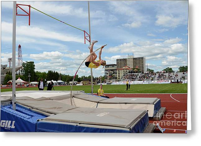 Canadian Greeting Cards - Womens Pole Vault 2 Greeting Card by Bob Christopher