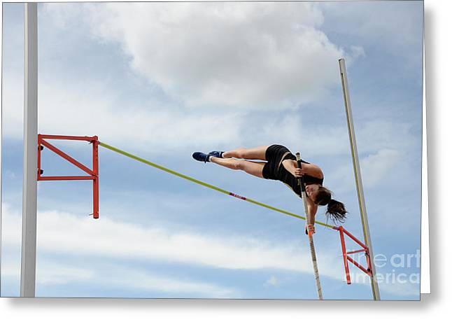 National Championship Greeting Cards - Womens Pole Vault Greeting Card by Bob Christopher
