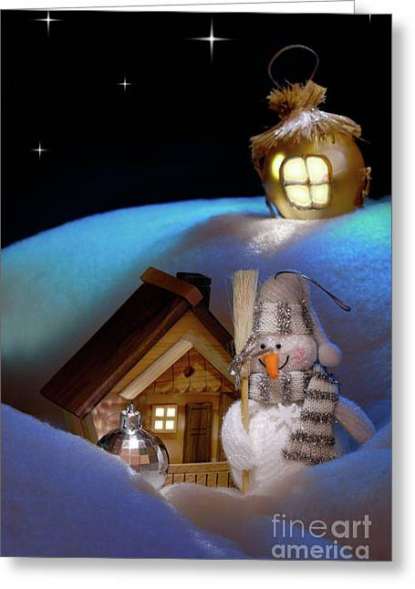 Snowy Night Night Greeting Cards - Wonderful Christmas Still Life Greeting Card by Oleksiy Maksymenko
