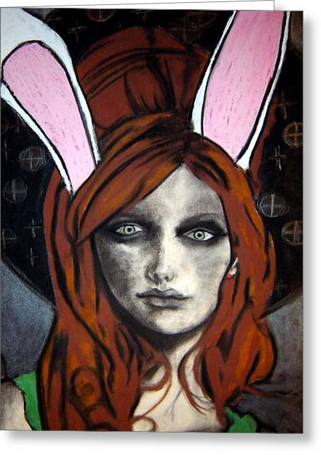 Biology Pastels Greeting Cards - Wonderland Girls - bunny ears close up Greeting Card by Chrissa Arazny