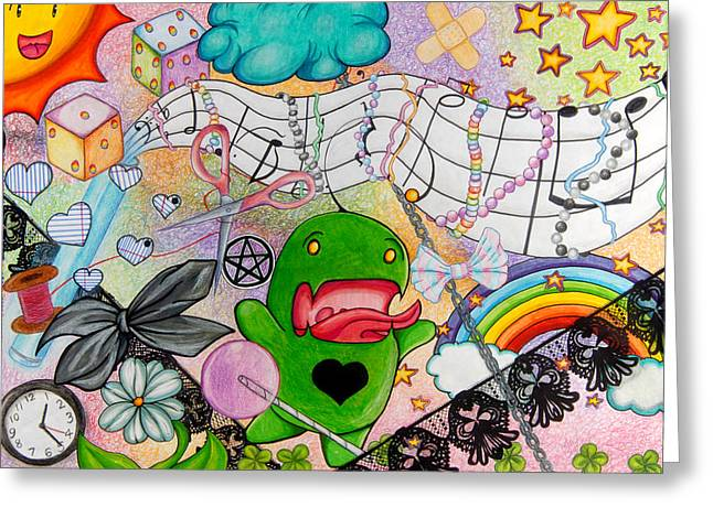 Music Time Drawings Greeting Cards - Wonderland Greeting Card by Kayleigh Dickson