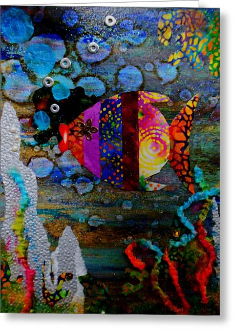 Bubbly Mixed Media Greeting Cards - Wonders of the Sea Greeting Card by Heather Saulsbury