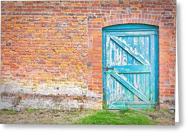 Blue Brick Greeting Cards - Wonky door Greeting Card by Tom Gowanlock